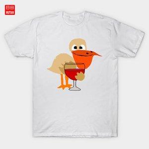 تبريد البجع شرب النبيذ الكرتون تي شيرت صلاة مضحك شرب الخمر الطبيعة شاطئ الطيور البجع