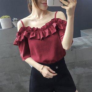 Shintimes Şifon Bluz Kısa Kollu Yaz Moda 2019 Ruffles Bayan Kapalı Ve Bluzlar Kapalı Omuz Üst Kadın Gömlek Giyim
