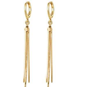 MxGxFam Gold Color 18 k Drop Snke Chain Tassel Earrings For Women Fashion XP Jewelry