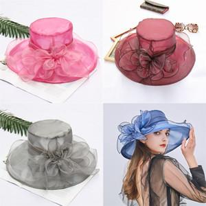 Schermo Womens Organza Hat Summer Flower Fashion Beach Sun cappello da sposa cappello floreale Chiesa partito 20 colori 300pcs T1I1930