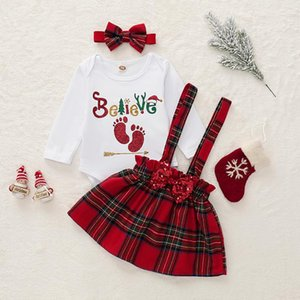 Newborn Kid Baby Girl Clothes Romper Top+Skirt Outfits Set Christmas