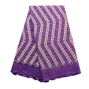 New design purple swiss Voile Lace 071 wholesale Price good quality Cotton Lace fabric design with stones for wedding