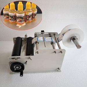 Máquina de etiquetado semi automática tarro de acero inoxidable botellas de plástico de cristal del metal etiqueta de papel escritas en la máquina de embalaje