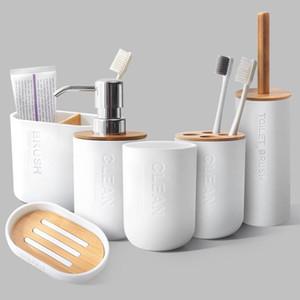 6Pcs Bamboo Banho Set Toilet Brush Holder Escova de dentes Copo de vidro Soap dispensador de sabão Acessórios Dish Banho
