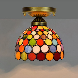 iluminación de techo retro Europea colgando Tiffany lámpara de cristal ala del balcón pasillo pequeña barra de techo de luz de colores Lámparas TF015