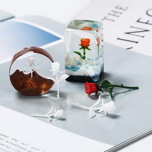 3pcs DIY hecho a mano cristalino de inmersión Principito joyería Bosque Micro-Filler paisaje 3D Mini Rose Modelo