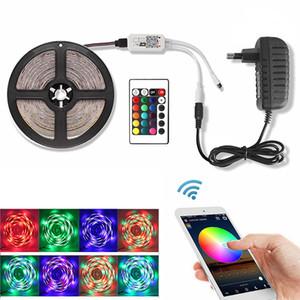 Müzik RGB Led Şerit 2835 WiFi DC 12V 5M 60 LED'ler / Su geçirmez Esnek Tira Şerit Led Işık Diyot Bant Denetleyici + Güç Adaptörü m