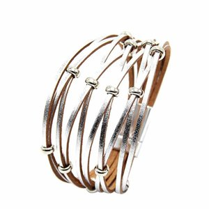 Fashion Women Multi Layer Beaded Cross Genuine Leather Magnet Button Bracelet hip hop