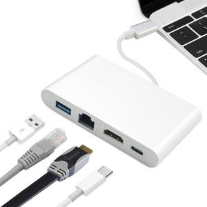 4 in 1 USB-C USB 3.1 Typ C zu HDMI 4K + 100M / 1000Mbit / s Gigabit Ethernet Lan RJ45-Kabeladapter + USB 3.0 + Typ C USB-C HUB-Videokonverter