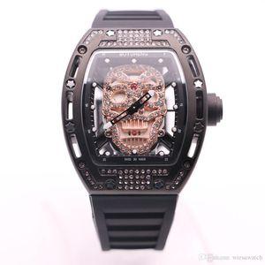 Transparent BOYUHENG Quartz Batterie 43MM diamant creux crâne squelette d'or Dial Hommes Montres Élastique Ardillon Montres-bracelets