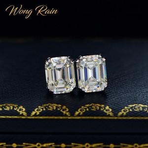 Wong дождь Классической 925 Sterling Silver Создано Муассанит Gemstone Diamonds серег ухо Котов Свадебных изящные ювелирные изделия Оптовая CX200706