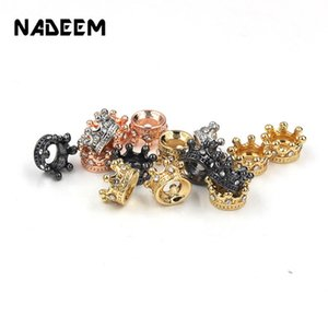 Cheap 10Pcs Lot CZ Crystal Crown Charm Beads Accessories DIY Metal Crystal Crown Spacer Beads for Bracelet Necklace Jewelry Making