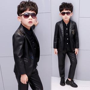 Nuevos niños Blazers Chaqueta de cuero Cool School Boy's Coat Trajes de buena calidad Disfraces de estilo de moda para niños Soft Punk trajes negros