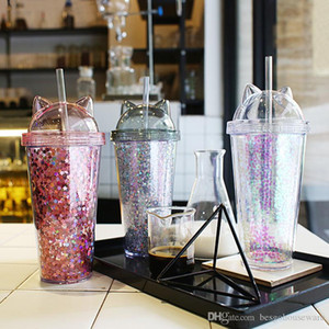 Orelha Gato Piscando Double Layer Cup bonito dos desenhos animados criativa Copos plásticos Tumbler Lantejoula Garrafa suco Wine With Straw Cup presente 3 cores BH2242 CY