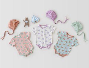New 2020 Baby Boys Jumpsuit Outfits Clothes Summer Bulk O-neck 0-3Yrs Newborn Baby Boy Girl Short Sleeve Bear Romper