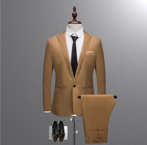 Mäntel und Hosen Freeship Herbst Anzug Set 5XL Mens NEUE Art und Weise intelligenter beiläufige dünne Knopf-Klage-feste Blazer Geschäft Hochzeit Gastgeber anzeigen