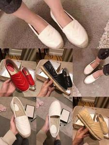 2019 New Famous Style Fashion Leder Frauen Mädchen Espadrilles Flache Schuhe Sommer Loafers Espadrilles Größe EUR34-42 Double Metal mit Box