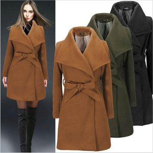 Новые орденские ленты отворотом шеи зимы женщин пальто моды сплошной цвет женщин Верхняя одежда Casual Женские пальто шерсти