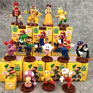 Figuras Brinquedos Mario Bros Princesa Daisy Sapo Mario Luigi Yoshi Donkey Kong Cogumelo Figuras 13pcs / set Com Cores Box