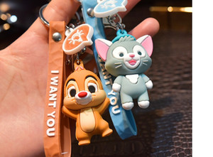 Soft cartoon baby elephant cat doll keychain squirrel faceted leather rope lanyard three-dimensional doll bag pendant
