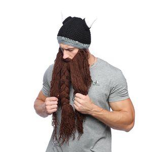 Mann-Winter-Schnurrbart Braid Beanie Halloween Lustige cosplay Hut Barbarian Vagabond Viking Bart Hut Horn Warme Woll Strick Caps Maske LJJA2814
