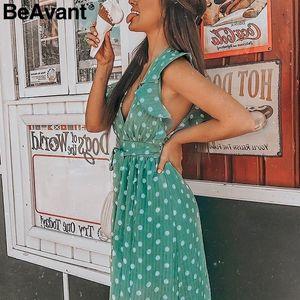 Beavant Vintage Polka Dot Beach Летнее платье Женщины Ruffle короткое платье без рукавов Повседневная зеленая кнопка печати женские платья женские Y19050805