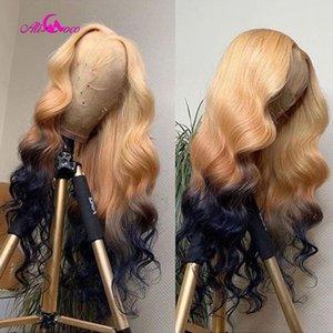 ALI Coco 150% 613/4 / 1B Humana peruca de cabelo de Remy do brasileiro onda do corpo peruca dianteira do laço verde da Luz Vermelha Bule Ombre 613 perucas para mulheres