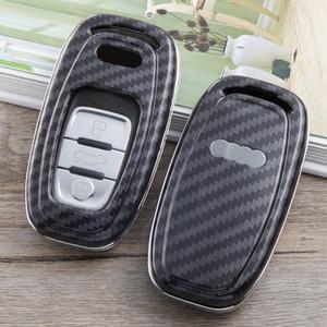 clé de voiture de cas pour audi a4 b8 b6 a3 8p a5 c6 clés q5 sacs couverture accessoires Shell en fibre de carbone chaîne clés porte-clés Les capots de protection automatique
