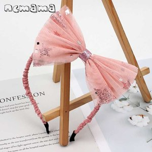 New Big Sequin Lace Bow Hairband for Girls Handmade Organza Bowknot Hair Hoops Party Headband Fashion Girls Hair Accessories