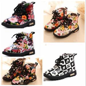 Bambino Martin stivali di moda floreale PU Soft Thin stivali invernali stivali caldi Aggiungi cotone con lacci delle scarpe di fiore stampato Boot Ragazze Boots WY185Q