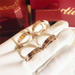 خواتم الحب المسمار الصلب من التيتانيوم تشير خواتم الماس الأزياء الأوروبية والأمريكية للأزواج ارتفع الذهب المحلق مع أعلى الأصلي 5MM مربع هدية