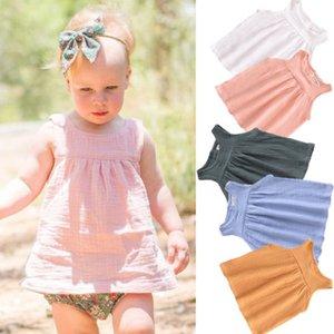 Pudcoco أزياء الصيف بنات الطفل أكمام الصلبة لون اللباس حزب ملابس أطفال بنات عارضة هوليداي بيتش فستان الشمس