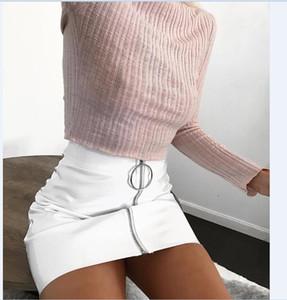 Seksi Kadın Moda Yüksek Bel Zip Faux Deri Kısa Kalem Bodycon Mini Etek 2017 Yeni Katı Beyaz Etek