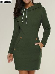 Новая мода элегантный Леди европейский американский с капюшоном высокий воротник с длинным рукавом свитер платье S-5xl,черный,серый,красный,зеленый Y19012201