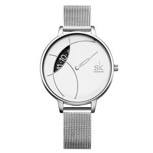 Shengke Movimento al quarzo Abito da polso per le donne 001 ultra sottile Quadrante cinturino in acciaio Maglia d'argento nero cinturino Ladies Watch