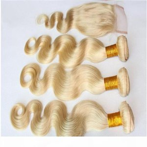 Brazilian Honey Blonde Hair 3Bundles With 1Pc Body Wave 4x4 Lace Closure 4Pcs Lot Virgin Brazilian Body Wavy Blonde Human Hair With Closure