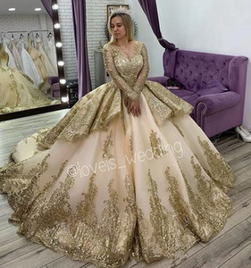 2020 Luxury Gold Lace Applique Layers Ball Gown Wedding Dresses Aso Ebi Jewel Neck Long Sleeves Lace up Arabic Chapel train Bridal Gowns