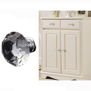 Armário Alças para Móveis De Cozinha 30mm Design de Forma de Diamante Alças Puxadores de Gaveta Delicada Botões De Cristal De Vidro Armário Puxa DH0921