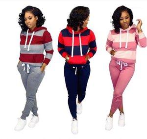 Piece Set заплатки Женские костюмы с капюшоном Повседневная Полосатый пуловер с длинным рукавом из двух частей штаны женщин Тонкий 2