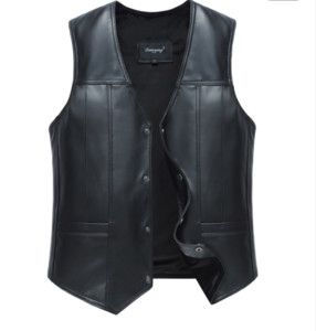 Mens Leather Fleece Waistcoat Genuine Sheepskin Leather Vest Male Business Casual Solid Autumn Winter Warm Sleeveless Jackets