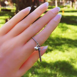 LISM 100% Real 925 Sterling Silver Open Rings for Women Girls Korea Do The Old Vintage Long Tassel Ring Fine Jewelry LMR064