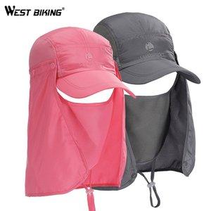 WEST BIKING Sun Runner cappuccio di protezione UV della visiera BMX poliestere esterno pesca Cap del fronte del collo Flap Hat ad asciugatura rapida Cappellini ciclismo
