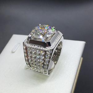 Anello da uomo gioielli hip hop Zircone ghiacciato anelli di lusso Cut Topaz CZ Diamante Pietre preziose Uomini Wedding Band Ring gioielli moda all'ingrosso