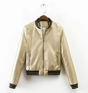 Fashion Top Women wear Leather Faux Leather jacket, coat and S-XL in European and American style for autumn winter Gold Silver jacket