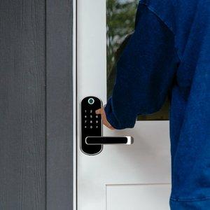 TTlock parmak izi akıllı wifi uygulaması su geçirmez düğme pin kodunu Tuş takımı elektronik kapı kilidi, biyometrik uzaktan kumanda kilit Y200407