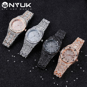 Reloj del diamante de Bling para nyuk acero regalo de reloj de pulsera de plata inoxidable de los hombres hacia fuera helado de lujo relojes de cuarzo de vestir hombre hombres