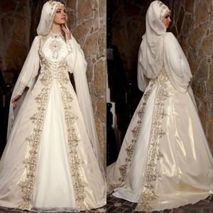 Modeste 2020 Arabe musulman Robes de Mariée avec manches longues col montant or perles de broderie de luxe de mariée robe de bal avec Cape