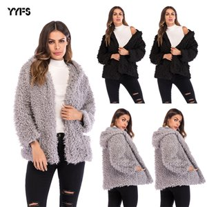 European and American Plush Thick Coat Womens 2020 Winter Fashion Long-Sleeved Loose Cardigan Woolen Coat