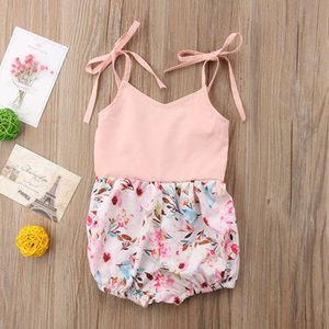 2018 Cute Newborn Toddler Baby Girl Strap Floral Pink Sweet Bodysuit Jumpsuit Cute Summer Outfit 0-24M