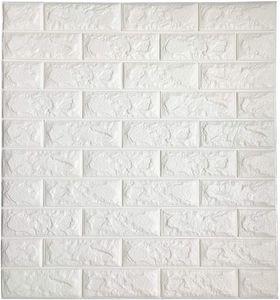 3D tuğla Duvar Sticker kendinden yapışkanlı duvar karoları Peel sopa duvar dekoratif paneller Oturma Odası Yatak odası için beyaz renk 3D duvar kağıdı